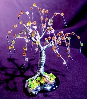 Custom Made Beaded Willow  - Mini Wire Tree Sculpture
