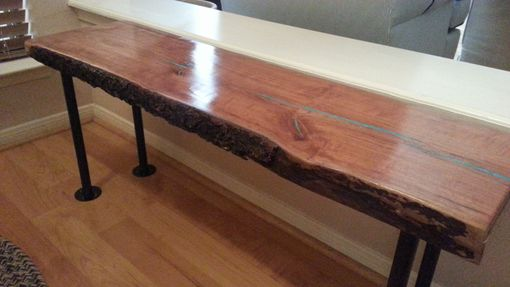 Hand Crafted Live Edge Cherry Wood Slab Coffeebench Table W