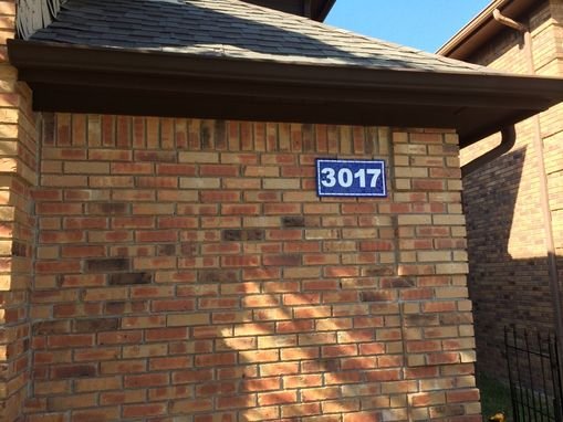 Custom Made House Number Plaque In Blue And White Stained Glass Mosaic Tiles, French House Number