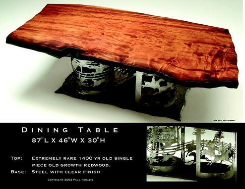 Custom Made Old-Growth Redwood Dining Table