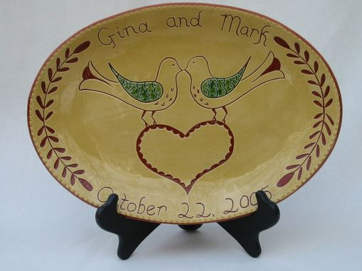 Custom Made Redware Wedding/Anniversary Love Birds Plate Decorated Using The Sgraffito Techinque