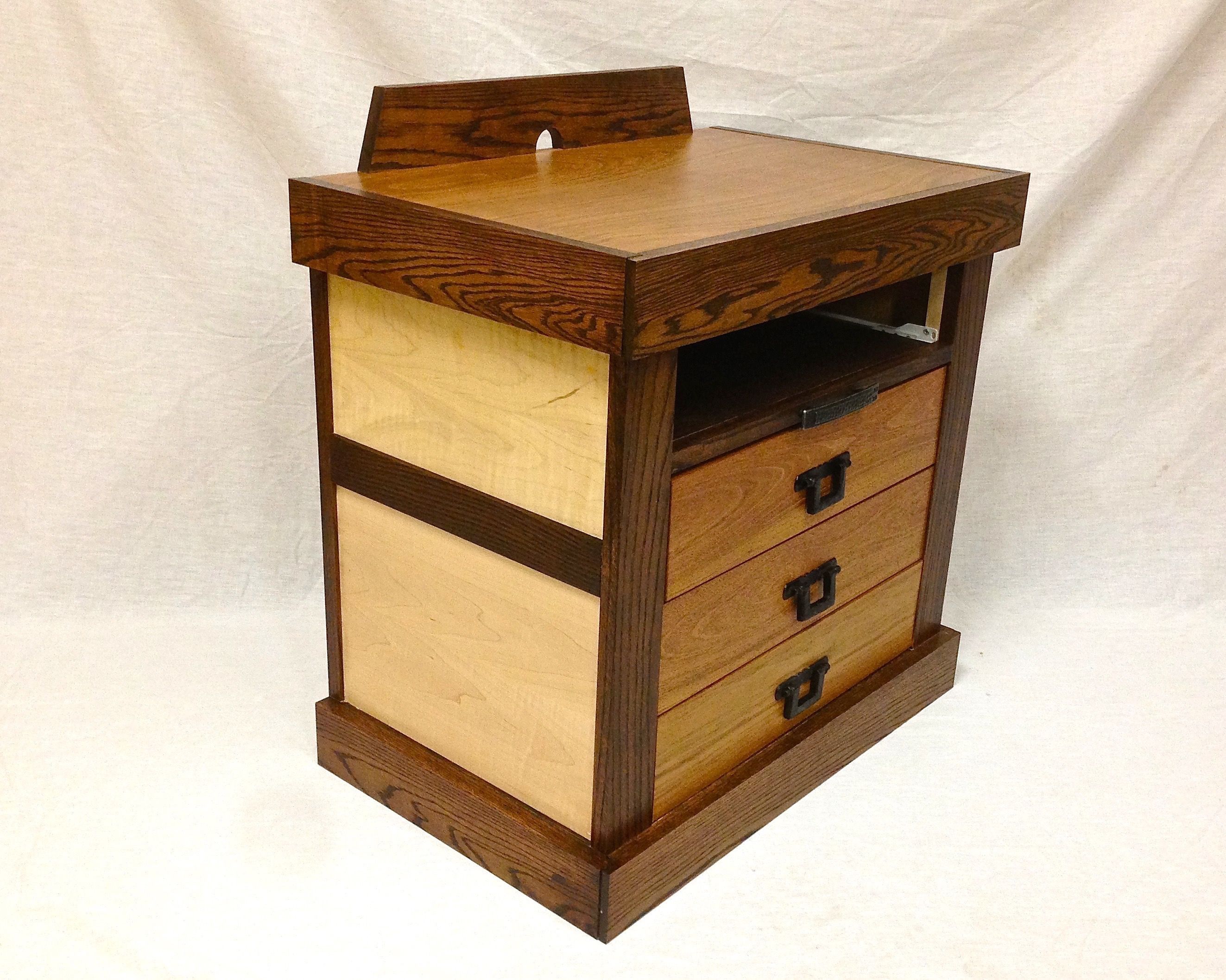 Hand Made Brazilian Cherry And Curly Maple Nightstands By S