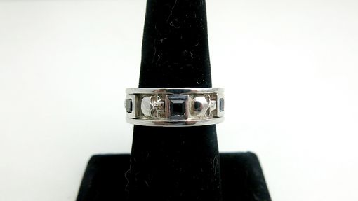 Custom Made Skull & Black Diamond Men's Wedding Band