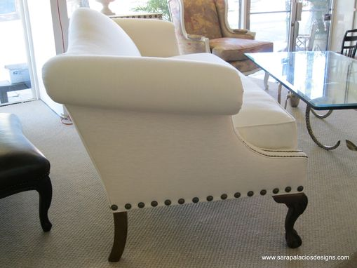 Custom Made Regency Upholstered Linen Sofa