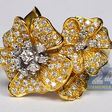 Custom Made Certified 18k Yellow Gold 1.00 Ct Diamond Double Flower Womens Ring