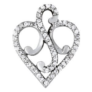 Custom Made Valentines Day Heart Shaped Diamond 14k White Gold Pendant 1/4 Ct