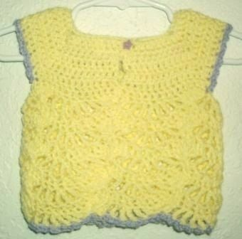 Custom Made Sunny Yellow With Purple Flowers Crochet Lace Sun Top - Size 0-3 Months