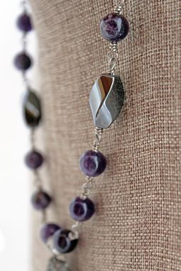 Custom Made Wire Wrapped Amethyst And Purple Agate Slice Necklace