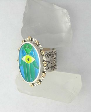 Custom Made Hamsa Evil Eye Ring, Cloisonne Enamel Hamsa Ring, Evil Eye Statement Ring