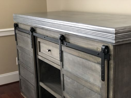 Custom Made Wine Cabinet With Cast Zinc Bartop