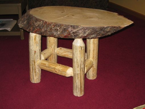 "Custom Made Solid Pine ""Slab"" End Table"