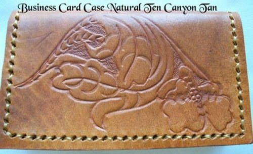 Custom Made Custom Leather Business Card Case With Natural 10 Design In Canyon Tan Color