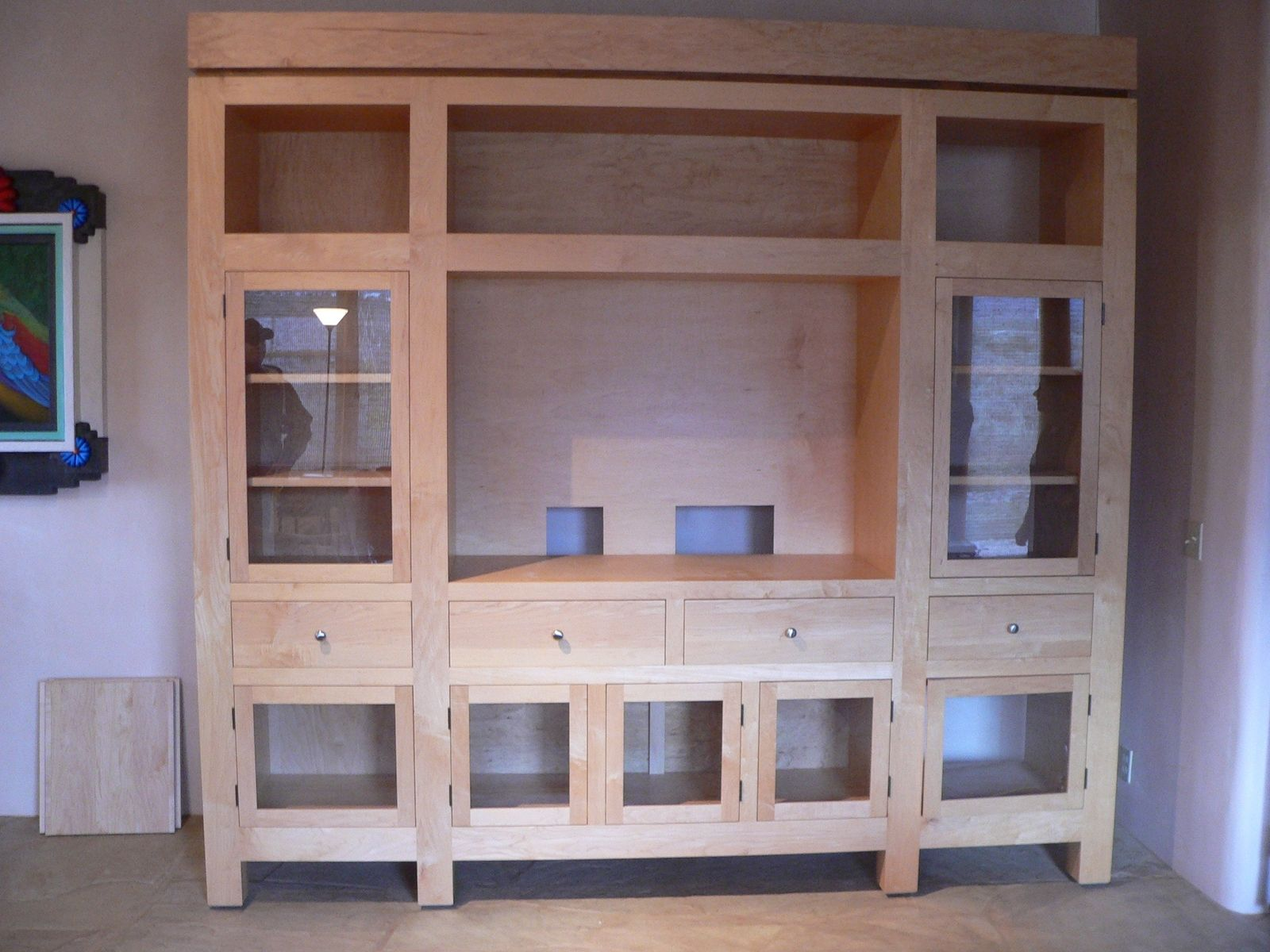 Hand Made Custom Grand Contemporary Maple Entertainment Center By Milagro Southwest Furniture