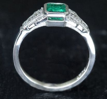 Custom Made Emerald Diamond Ring - Vintage Style Cocktail