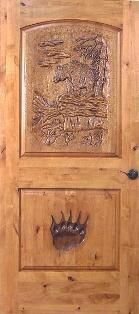 Custom Made Hand Carved Door - Grizly Bear Design