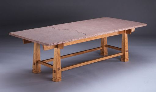 Custom Made White Oak Coffee Table With Sandstone Top
