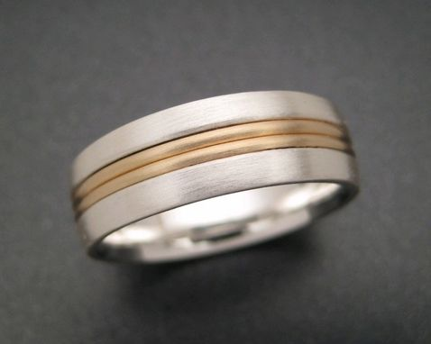 Custom Made Sterling Wedding Ring With 18k Two Wire Inlay