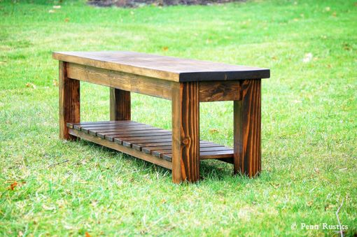 Custom Made Rustic Farmhouse Bench With Storage Shelf