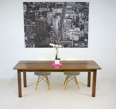 Custom Made Solid Walnut Parsons Dining Table With Softened Lines