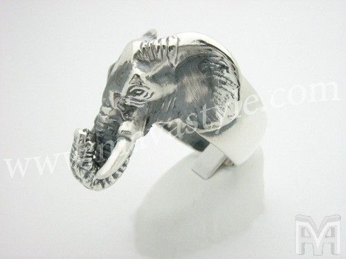 Custom Made Sterling Silver Elephant Ring