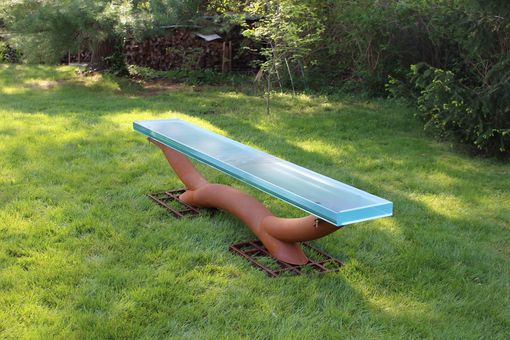 Custom Made Glass And Patinated Steel Bench