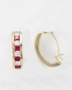 Custom Made Ruby And Diamond Semi Hoop Earrings In 14k Yellow Gold