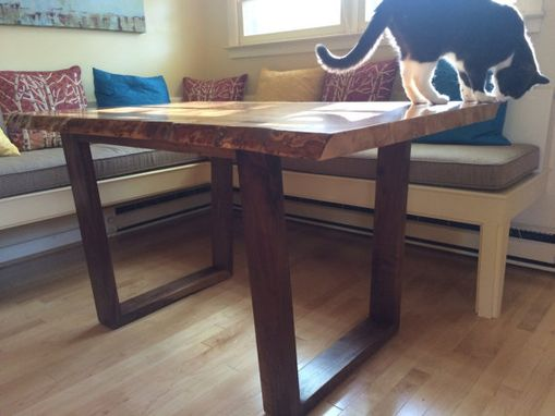 Custom Made Figured Maple And Walnut Dining Table