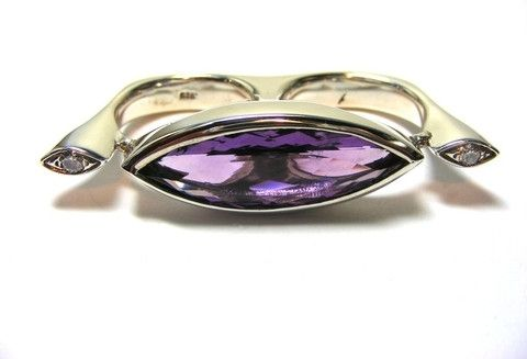 Custom Made Two Finger Amethyst Ring