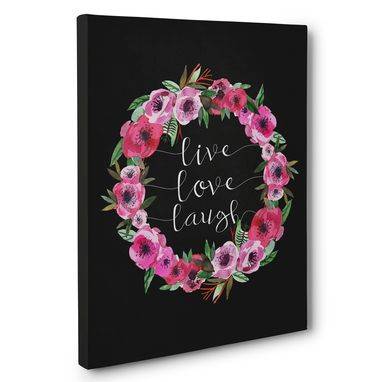 Custom Made Live Love Laugh Floral Motivational Canvas Wall Art