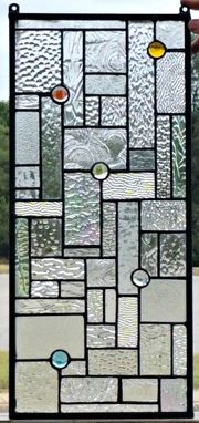 Custom Made Stained Glass Hanging Panel - Elegant Textures (G-13)