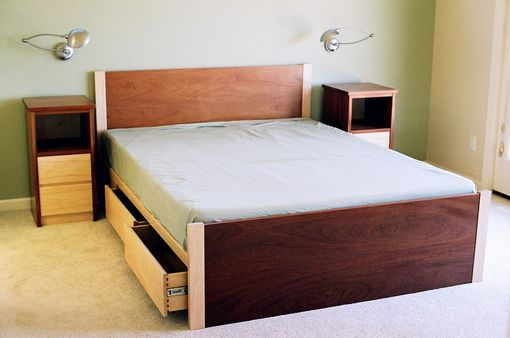 Custom Made Mahogany And Maple Bed With Drawers