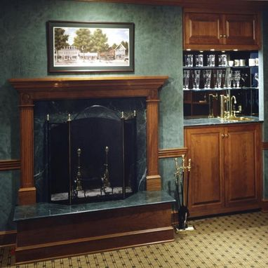 Custom Made Raised Panel Cherry Wet Bar And Display Cabinets In Tokeneke, Ct