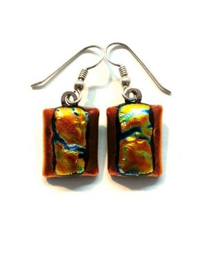 Custom Made Dichroic Glass Earrings In Red And Gold