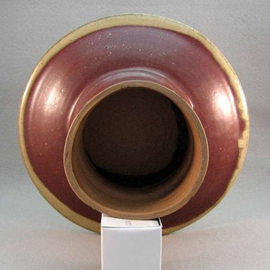 Custom Made Plate On Pedestal With Beige Trim Stoneware