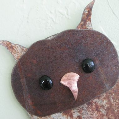Custom Made Owl Wall Art Sculpture Recycled Metal Animal Wall Decor Folk Art Kitchen Wall Decor Bird Art 7 X 15