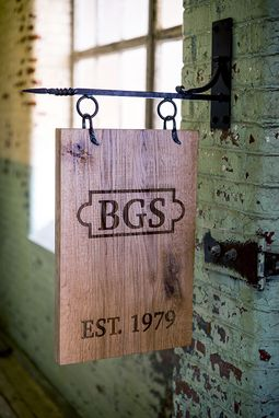 Custom Made Exterior Reclaimed Wood Sign, Laser Etched With Hand Forged Steel Hardware