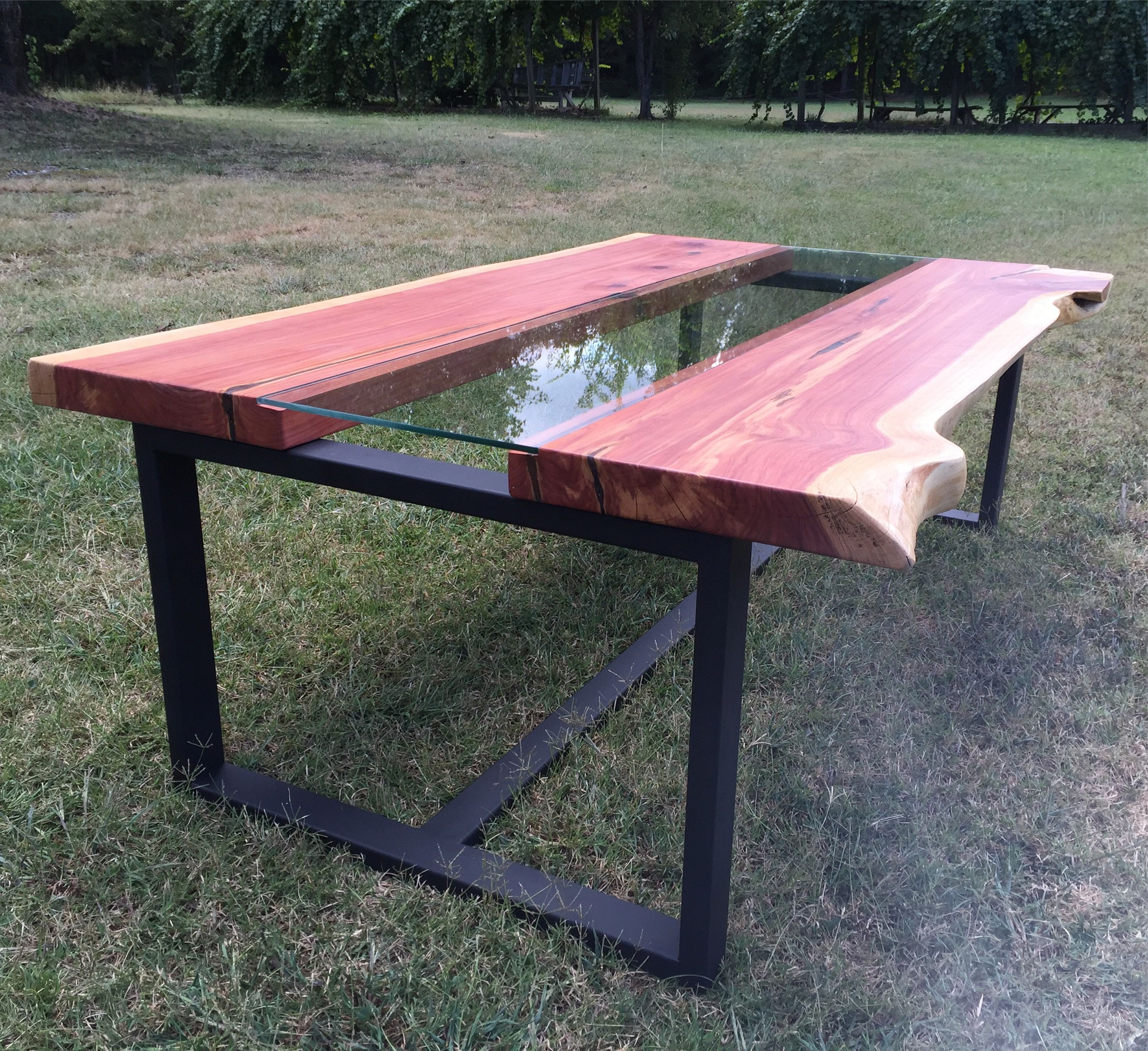 Custom Live Edge Cedar Coffee Table With Glass Channel by Southern
