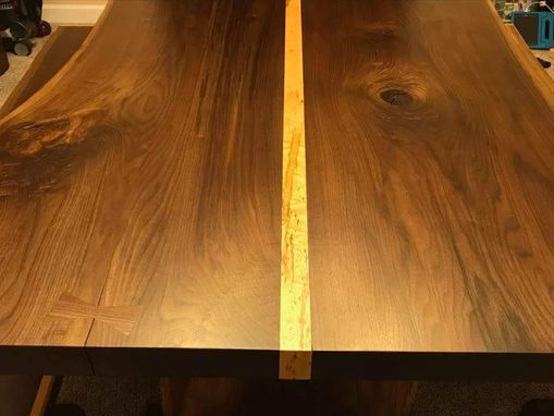 Custom Made Live Edge Walnut Trestle Table W Benches