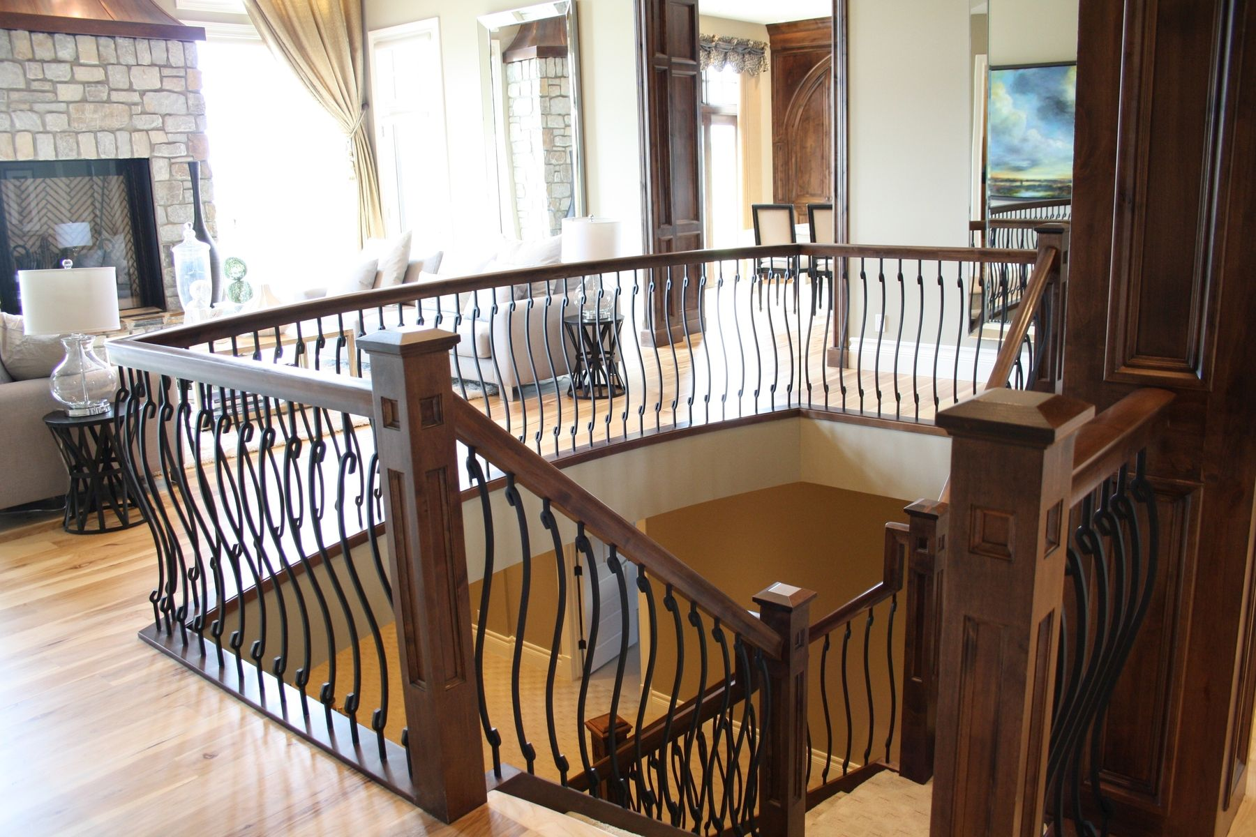Wood Stair Rail With S Shaped Spindles
