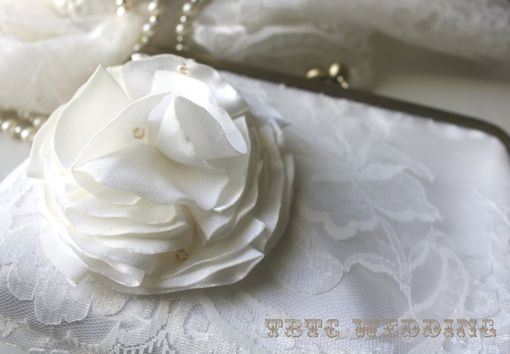 Custom Made Ivory Lace Wedding Purse With Flower Accent