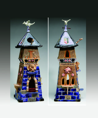 Custom Made Ceramic Sculpture Of Castle Featuring Dragon On Top