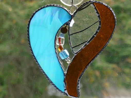Custom Made Multicolored Beaded Stained Glass Heart