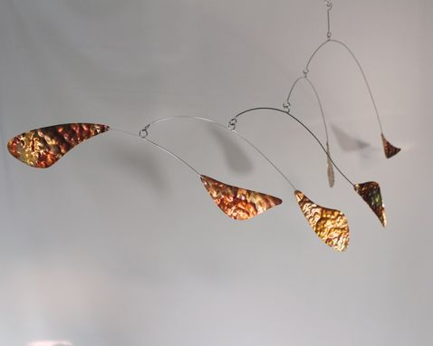 Custom Made Copper Mobile Hammered Metal - Zen Style Kinetic Art Sculpture