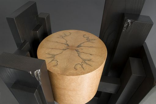Custom Made Ebonized Ash And Madrone Burl Entry Table