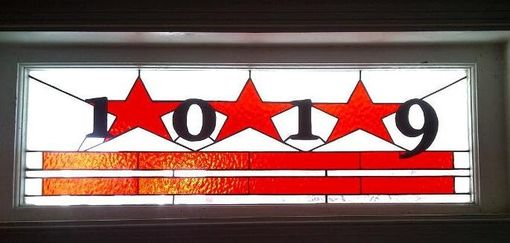 Custom Made Stained Glass Window Panel / Washington Dc Flag Transom With House Numbers (Am-5)