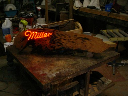 Custom Made Miller Beer Neon Swamp Art On Cypress Pecky Drift Wood