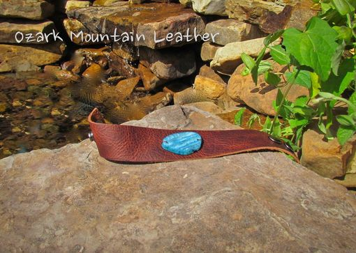 Custom Made Custom Leather Cuff Bracelet With Blue Stone
