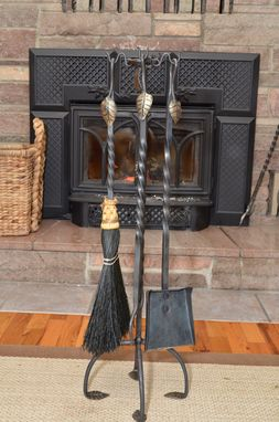 Custom Made Leaf Handle Fireplace Set