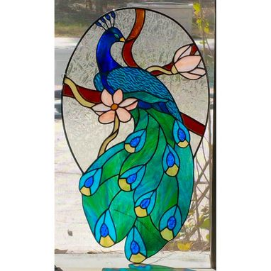 Custom Made Stained Glass Peacock Hanging Panel