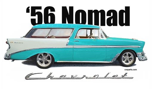 Custom Made 1956 Chevy Nomad T-Shirt Automotive Art